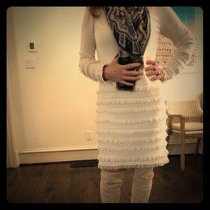 Trina Turk long sleeve fringe sweater dress